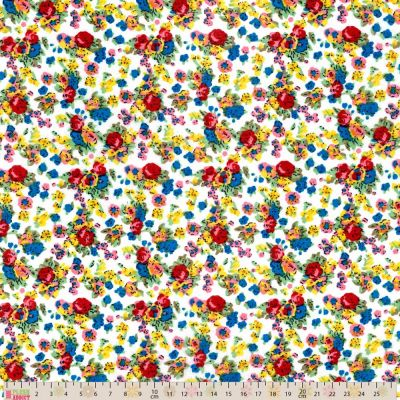 Cotton Lawn - Floral On White