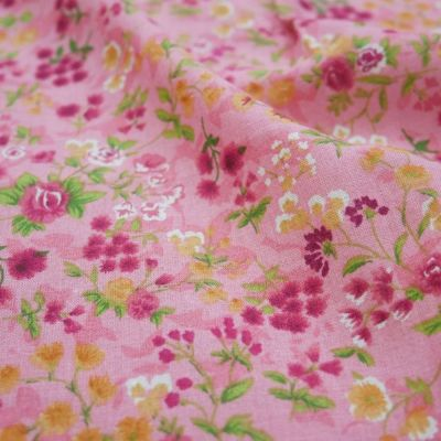 Cotton Lawn - Pink Floral On Coral