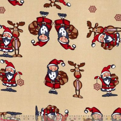 Cotton Fabric - Quirky Santa On Dark Cream