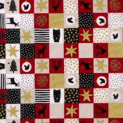 Cotton Fabric - Festive Squares Red