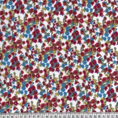 Cotton Lawn - Bold Red Floral On White