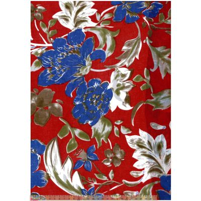 Cotton Lawn - Royal Blue Floral On Red
