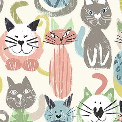 Digital Cotton Print  - Cats