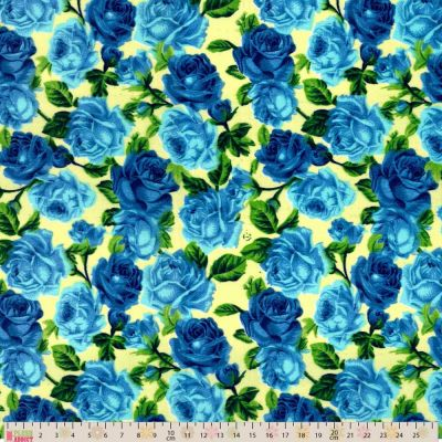 Polycotton - Royal Blue Roses On Cream
