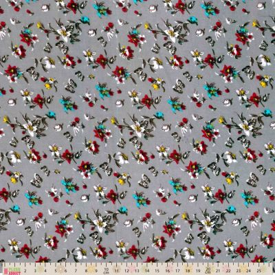 Cotton Lawn - Blooms And Butterflies On Silver