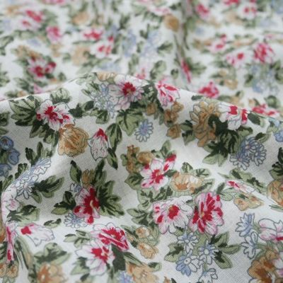 Cotton Lawn - Pink And White Floral On Ivory