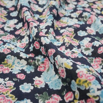 Cotton Lawn - Pink And Blue Floral On Navy