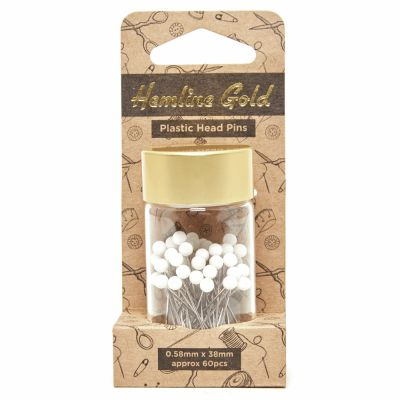 Hemline Gold Plastic Head Nickel Plated 60 Pieces Premium Steel Pins - 0.58 x 38mm - White