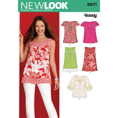 New Look Sewing Pattern 6871 Misses Tops