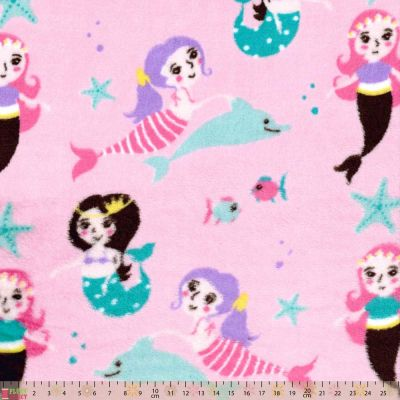 Cuddle Fleece - Mermaids On Pink