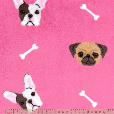 Cuddle Fleece - French Bulldogs On Pink