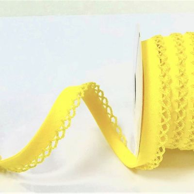 12mm Bias Binding Double Folded Lace Edged Yellow - 5 Metre Pack