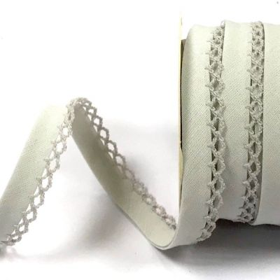 12mm Bias Binding Double Folded Lace Edged Silver Grey - 5 Metre Pack