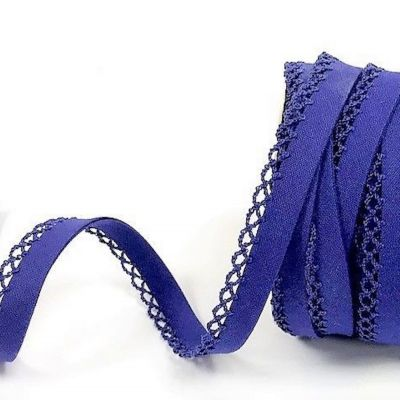 12mm Bias Binding Double Folded Lace Edged Azure