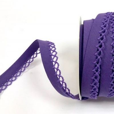12mm Bias Binding Double Folded Lace Edged Purple - 5 Metre Pack