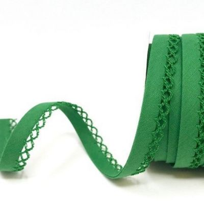 12mm Bias Binding Double Folded Lace Edged Christmas Green