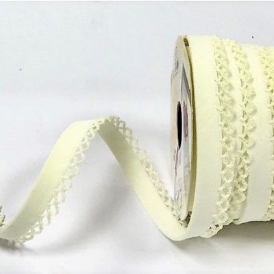 12mm Bias Binding Double Folded Lace Edged Cream