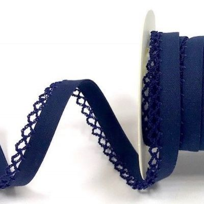 12mm Bias Binding Double Folded Lace Edged Navy - 5 Metre Pack