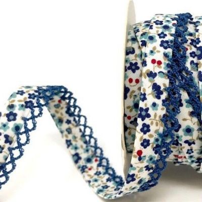 Byesta Fany Lace Edge Bias Binding - Blue Flower Print - 12mm Wide