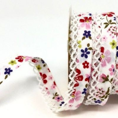 Byesta Fany Lace Edge Bias Binding - Pink & Purple Flower Design - 12mm Wide