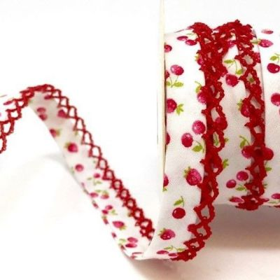 12mm Bias Binding Double Folded Lace Edged Red Cherries On White
