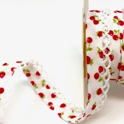 Byesta Fany Lace Edge Bias Binding - Strawberries & Cherries Design - 12mm Wide
