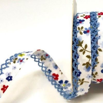 Byesta Fany Lace Edge Bias Binding - Blue & Red Flower Design - 12mm Wide