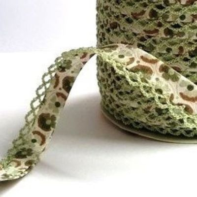 Byesta Fany Lace Edge Bias Binding - Sage Mint & Beige Dune Floral Print - 12mm Wide