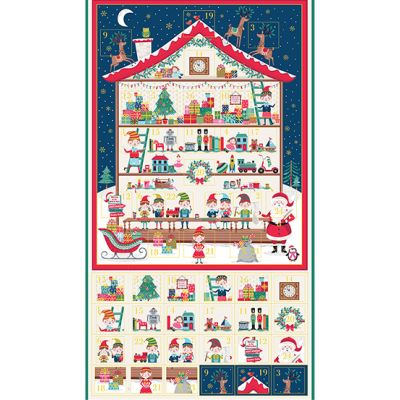 Makower - Let It Snow - Workshop Advent Calendar Panel - 60cm - With Option For A Kit