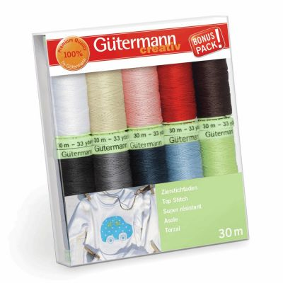 Gutermann 10 x 30m Assorted Top Stitch Thread Set