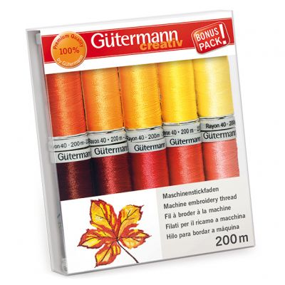 Gutermann 10 x 200m Sunshine Shades Embroidery Thread Set