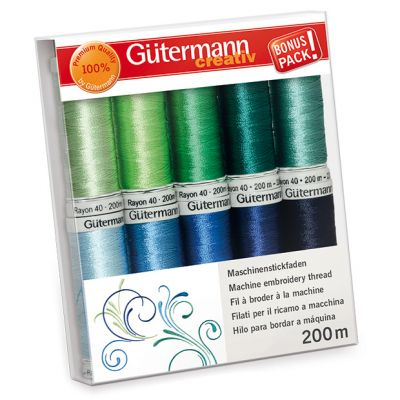 Gutermann 10 x 200m Paradise Shades Embroidery Thread Set