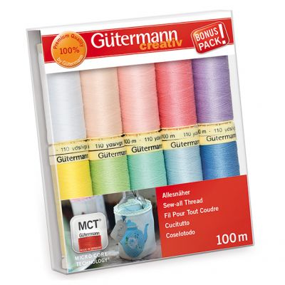 Gutermann 10 x 100m Pastel Sew All Thread Set