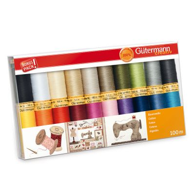 Gutermann 20 x 100m Basic And Bright Cotton Thread Set