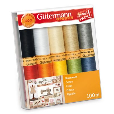 Gutermann 10 x 100m Basic And Bright Cotton Thread Set