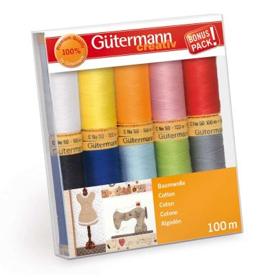 Gutermann 10 x 100m Basics Shades Cotton Thread Set