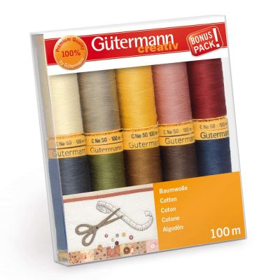 Gutermann 10 x 100m Natural Shades Cotton Thread Set