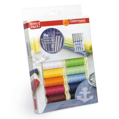 Gutermann 10 x 100m Brights Sew All Thread Set With 35 Needles