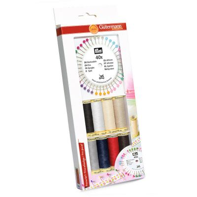 Gutermann 8 x 100m Base Shades Sew All Thread Set With 40 Pearl-Headed Pins