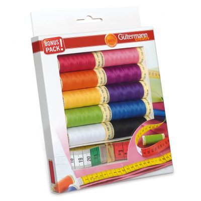 Gutermann 10 x 100m Rainbow Sew All Thread Set With Measuring Tape