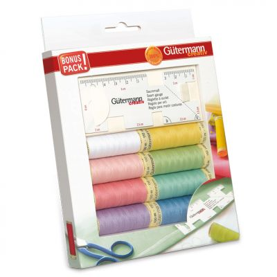 Gutermann 8 x 100m Pastel Sew All Thread Set With Seam Gauge