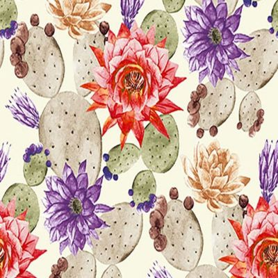 Digital Cotton Print  - Floral Cactus