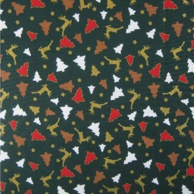 Cotton Fabric - Reindeer And Trees On Green