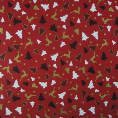 Cotton Fabric - Reindeer And Trees On Red