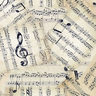 Digital Cotton Print  - Vintage Music Score