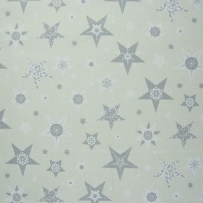 Cotton Fabric - Silver Stars On Ivory