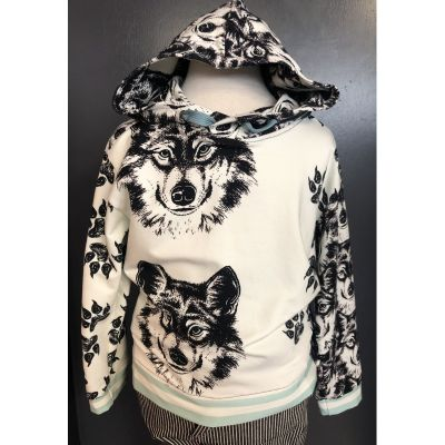 Stretch Cotton Jersey Knit - Sectional Wolf Print On Khaki