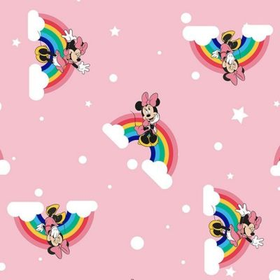 Digital Cotton Print  - Minnie Mouse On A Rainbow