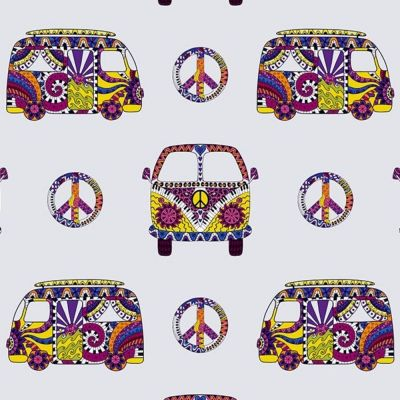 Digital Cotton Print  - Retro Camper Vans