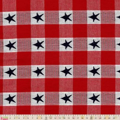 Cotton Fabric - Linen Look Cotton Canvas Woven Stars Check